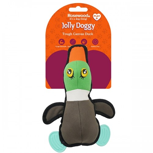 JOLLY DOGGY TOUGH CANVAS DUCK WITH RUBBER FEET 27CM