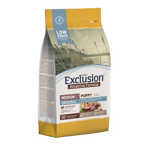 EXCLUSION ANCESTRAL  LOW GRAIN ADULT ORIGINAL CHICKEN, PORK AND SALMON