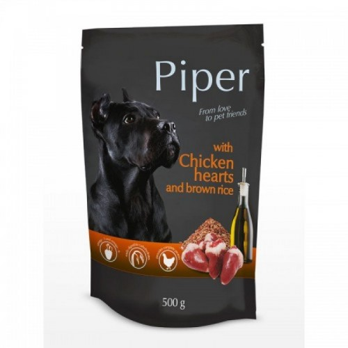 PIPER DOG WET WITH CHICKEN HEARTS AND BROWN RICE  500GR